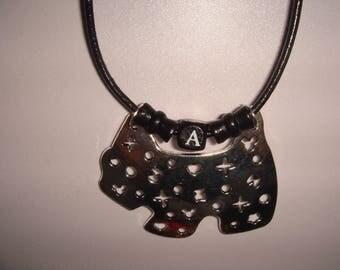 man ROMUALD dog pendant leather cord necklace