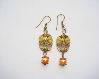 Bronze chandelier earrings gold Pearl bow orange