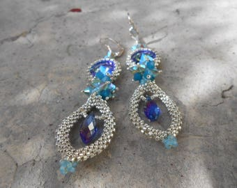 """Pearl and Crystal woven earrings """"Agathe"""""""