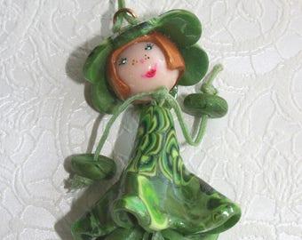 Green girl - dress flower & Flower hat