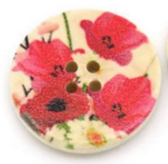 BBR30227 - 2 BUTTONS ROUND 30 MM WOODEN PATTERN WITH COLORS