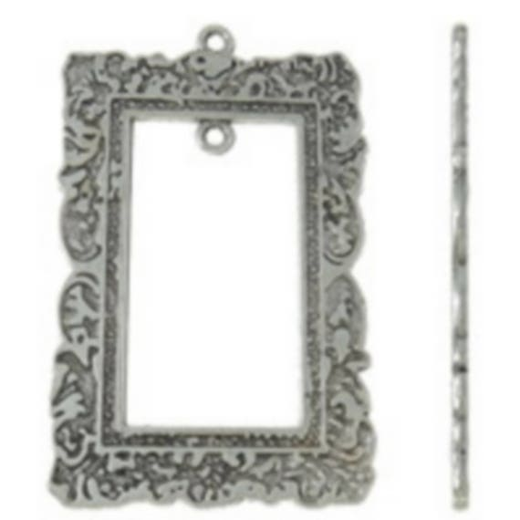 """1 large charm """"frame"""" silver color size 34 x 53 mm"""