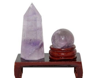 Feng shui sphere and point set in Amethyst