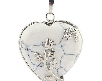 Silver plated floral heart pendant - howlite