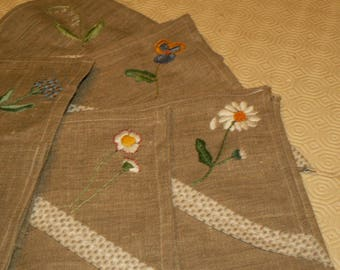sewn and hand embroidered linen table Napkins