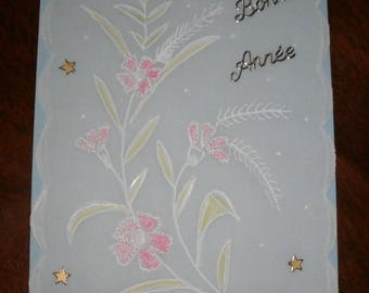 Happy new year card flower meadows on parchment (5)