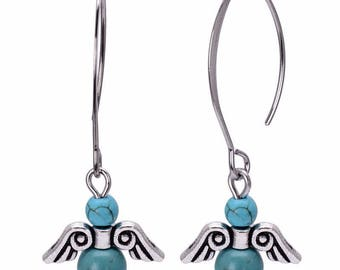 Earrings turquoise and silver plated large hook
