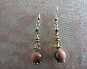 Nice pair of Pink salmon-Brown earrings