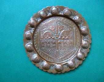 Engraved Copper Plate / Ashtray - Middle East Art