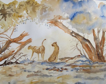 Watercolor of two cheetahs under the trees