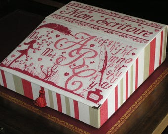"""Card box """"My writing"""" embroidered"""