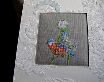 Bird, birdhouse and dandelion, embroidered picture