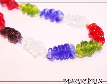 Set of 10 25 mm Ideal Creation 2171 twisted glass beads