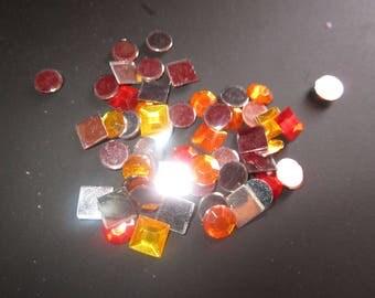 red orange plastic mosaic set