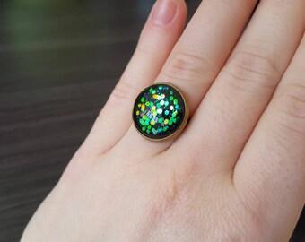 Black Cabochon Adjustable ring