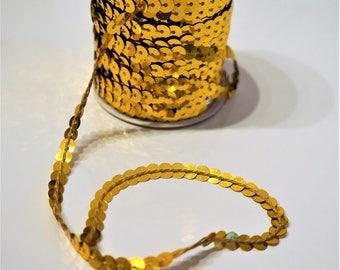 Sequin, gold color, width 5mm Ribbon