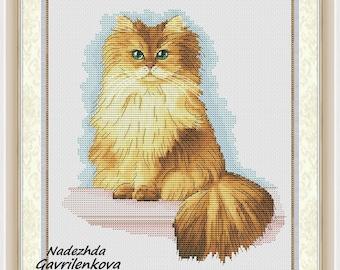 Caramel Cat Cross Stitch Pattern Animal pattern Modern cross stitch pattern PDF Embroidery room wall decor