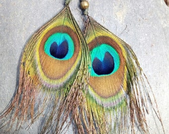 Macrame necklace with Peacock feather earrings