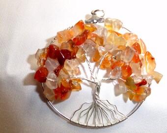 carnelian tree of life pendant necklace magnetized sex chakra