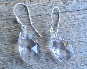 "Earrings ""malika"" 925 sterling silver and clear swarovski crystal"