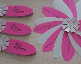 wedding menu or christening the shape of flower petals