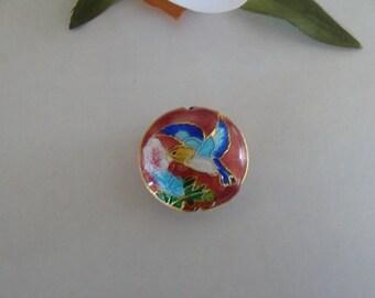 Cloisonné enamel bird design pink color bead