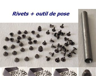 Tool pose + black cone Rivet bucket mushroom Stud metal 8mm x 5mm for DIY decoration customization