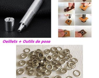 Eyelet silvered ALU + setting tools with washers diameter 13.5 mm for DIY curtain hip bag