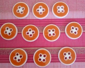 set of 10 buttons orange rimmed white