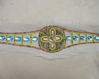 Applique belt sewing seed beads and cabochons
