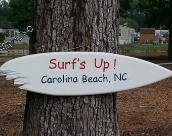 "Tiki Surfboard Sign Hand Made In The USA   ""Surf's Up! Carolina Beach, NC.""  39"""