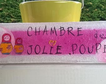 """Painted brick plate of """"wear - but am in room - I?"""": child's room"""