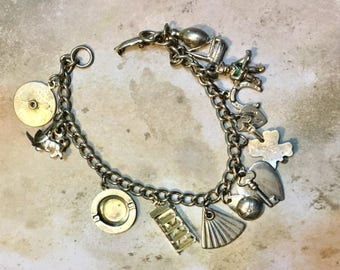 Vintage CORO Silver Tone Charm Bracelet Loaded with Charms