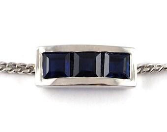 White Gold Bracelet 18 k, 3 blue sapphires 0.45ct.