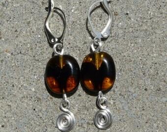 Bookmark in silver setting earrings