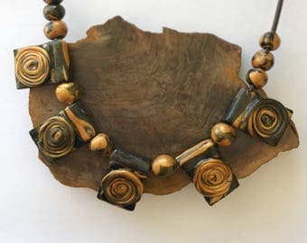 Black & Gold Polymer Clay Beaded Necklace with Spirals by Arne - Christmas Gift for Her