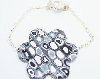 Gun grey polymer clay bracelet
