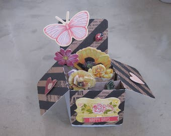 Card, box, 3D butterfly, spring flowers