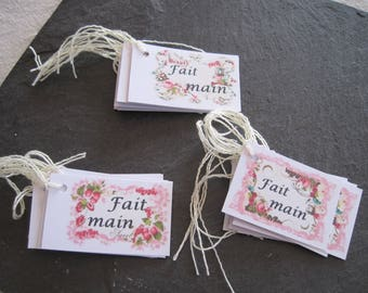 Tags, handmade, shabby flowers for your creations
