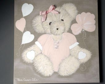 Girl Teddy bear painting