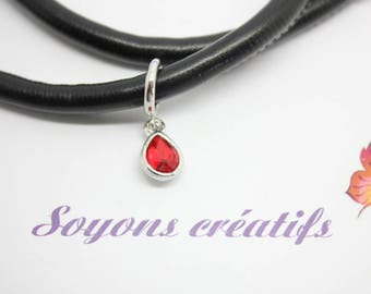 1 Perle passing silver Teardrop red rhinestone for 6-7 mm - SC77983 cord-