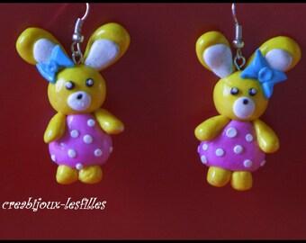 fimo Bunny birthday gift earring