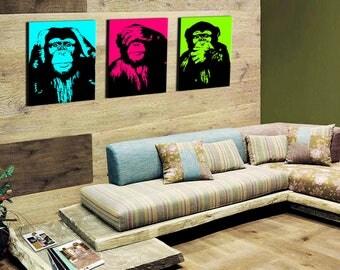 The monkeys pop art triptych 3 x (80x55cm)
