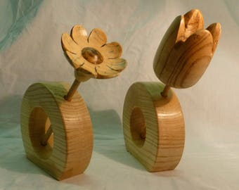 vase with its wood - turning handcrafted flower