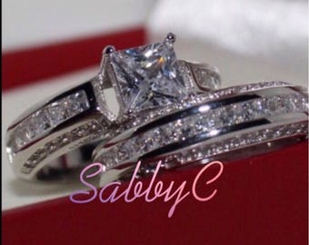 New 14 k white gold wedding ring set
