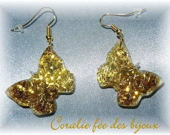 Earrings Butterfly resin glitter ideal gift Valentine's day