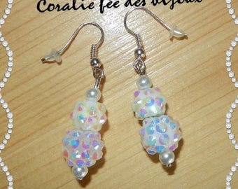 shamballa and pearly white glass Pearl Earrings