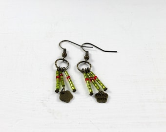 Green and Red seed bead earring