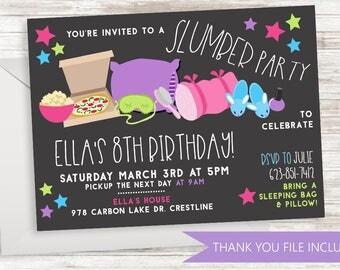 Slumber Party Invitation Invite Birthday Sleepover Digital 7x5 Girls Kids ANY AGE