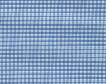 Blue gingham cotton with 1 m width 115 cm